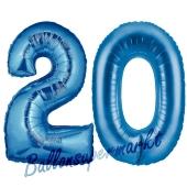 Zahl 20 Blau, Luftballons aus Folie zum 20. Geburtstag, 100 cm, inklusive Helium