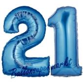 Zahl 21 Blau, Luftballons aus Folie zum 21. Geburtstag, 100 cm, inklusive Helium