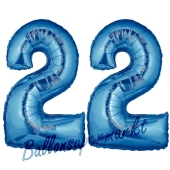 Zahl 22 Blau, Luftballons aus Folie zum 22. Geburtstag, 100 cm, inklusive Helium