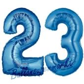 Zahl 23 Blau, Luftballons aus Folie zum 23. Geburtstag, 100 cm, inklusive Helium