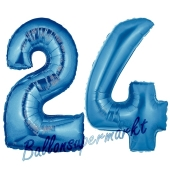 Zahl 24 Blau, Luftballons aus Folie zum 24. Geburtstag, 100 cm, inklusive Helium