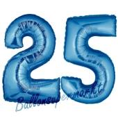 Zahl 25 Blau, Luftballons aus Folie zum 25. Geburtstag, 100 cm, inklusive Helium