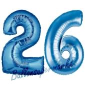 Zahl 26, Blau, Luftballons aus Folie zum 26. Geburtstag, 100 cm, inklusive Helium