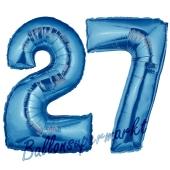 Zahl 27, Blau, Luftballons aus Folie zum 27. Geburtstag, 100 cm, inklusive Helium