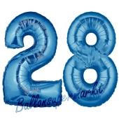 Zahl 28, Blau, Luftballons aus Folie zum 28. Geburtstag, 100 cm, inklusive Helium