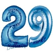 Zahl 29, Blau, Luftballons aus Folie zum 29. Geburtstag, 100 cm, inklusive Helium