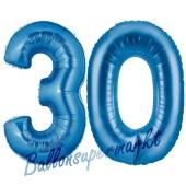 Zahl 30, Blau, Luftballons aus Folie zum 30. Geburtstag, 100 cm, inklusive Helium