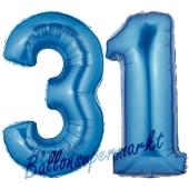 Zahl 31, Blau, Luftballons aus Folie zum 31. Geburtstag, 100 cm, inklusive Helium