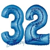 Zahl 32, Blau, Luftballons aus Folie zum 32. Geburtstag, 100 cm, inklusive Helium