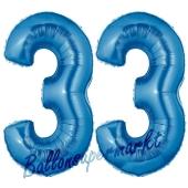 Zahl 33, Blau, Luftballons aus Folie zum 33. Geburtstag, 100 cm, inklusive Helium