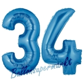 Zahl 34, Blau, Luftballons aus Folie zum 34. Geburtstag, 100 cm, inklusive Helium