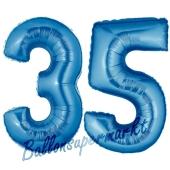 Zahl 35, Blau, Luftballons aus Folie zum 35. Geburtstag, 100 cm, inklusive Helium