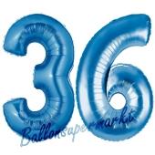 Zahl 36, Blau, Luftballons aus Folie zum 36. Geburtstag, 100 cm, inklusive Helium
