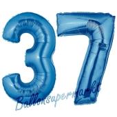 Zahl 37, Blau, Luftballons aus Folie zum 37. Geburtstag, 100 cm, inklusive Helium