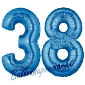 Zahl 38, Blau, Luftballons aus Folie zum 38. Geburtstag, 100 cm, inklusive Helium