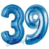 Zahl 39, Blau, Luftballons aus Folie zum 39. Geburtstag, 100 cm, inklusive Helium
