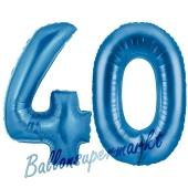 Zahl 40, Blau, Luftballons aus Folie zum 40. Geburtstag