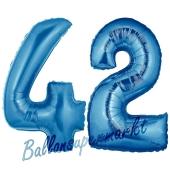 Zahl 42, Blau, Luftballons aus Folie zum 42. Geburtstag, 100 cm, inklusive Helium