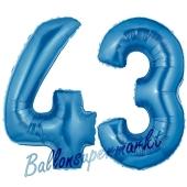 Zahl 43, Blau, Luftballons aus Folie zum 43. Geburtstag, 100 cm, inklusive Helium