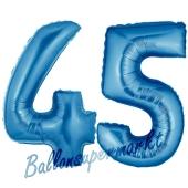 Zahl 45, Blau, Luftballons aus Folie zum 45. Geburtstag, 100 cm, inklusive Helium