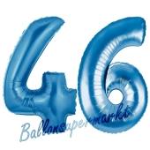 Zahl 46, Blau, Luftballons aus Folie zum 46. Geburtstag, 100 cm, inklusive Helium