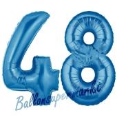 Zahl 48, Blau, Luftballons aus Folie zum 48. Geburtstag, 100 cm, inklusive Helium