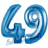 Zahl 49, Blau, Luftballons aus Folie zum 49. Geburtstag, 100 cm, inklusive Helium