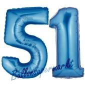 Zahl 51, Blau, Luftballons aus Folie zum 51. Geburtstag, 100 cm, inklusive Helium