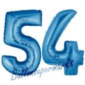 Zahl 54, Blau, Luftballons aus Folie zum 54. Geburtstag, 100 cm, inklusive Helium