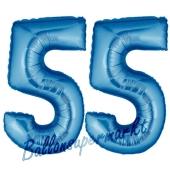 Zahl 55, Blau, Luftballons aus Folie zum 55. Geburtstag, 100 cm, inklusive Helium