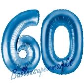 Zahl 60, Blau, Luftballons aus Folie zum 60. Geburtstag