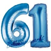 Zahl 61, Blau, Luftballons aus Folie zum 61. Geburtstag, 100 cm, inklusive Helium