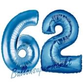 Zahl 62, Blau, Luftballons aus Folie zum 62. Geburtstag, 100 cm, inklusive Helium