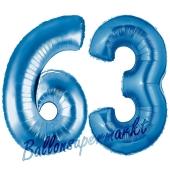 Zahl 63, Blau, Luftballons aus Folie zum 63. Geburtstag, 100 cm, inklusive Helium