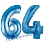 Zahl 64, Blau, Luftballons aus Folie zum 64. Geburtstag, 100 cm, inklusive Helium