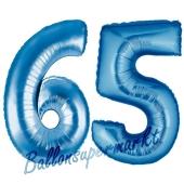 Zahl 65, Blau, Luftballons aus Folie zum 65. Geburtstag, 100 cm, inklusive Helium