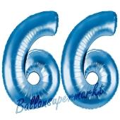 Zahl 66, Blau, Luftballons aus Folie zum 66. Geburtstag, 100 cm, inklusive Helium