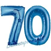 Zahl 70, Blau, Luftballons aus Folie zum 70. Geburtstag