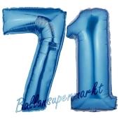 Zahl 71, Blau, Luftballons aus Folie zum 71. Geburtstag, 100 cm, inklusive Helium