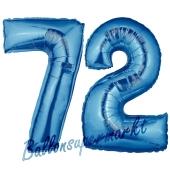 Zahl 72, Blau, Luftballons aus Folie zum 72. Geburtstag, 100 cm, inklusive Helium