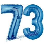 Zahl 73, Blau, Luftballons aus Folie zum 73. Geburtstag, 100 cm, inklusive Helium