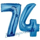 Zahl 74, Blau, Luftballons aus Folie zum 74. Geburtstag, 100 cm, inklusive Helium