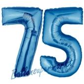 Zahl 75, Blau, Luftballons aus Folie zum 75. Geburtstag, 100 cm, inklusive Helium