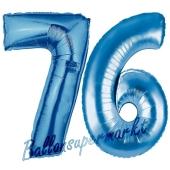 Zahl 76 Blau, Luftballons aus Folie zum 76. Geburtstag, 100 cm, inklusive Helium