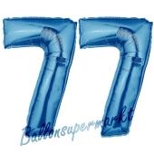 Zahl 77 Blau, Luftballons aus Folie zum 77. Geburtstag, 100 cm, inklusive Helium