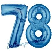 Zahl 78 Blau, Luftballons aus Folie zum 78. Geburtstag, 100 cm, inklusive Helium
