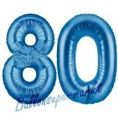 Zahl 80, Blau, Luftballons aus Folie zum 80. Geburtstag