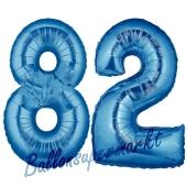 Zahl 82 Blau, Luftballons aus Folie zum 82. Geburtstag, 100 cm, inklusive Helium