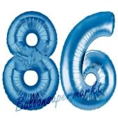 Zahl 86 Blau, Luftballons aus Folie zum 86. Geburtstag, 100 cm, inklusive Helium