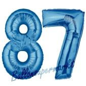 Zahl 87 Blau, Luftballons aus Folie zum 87. Geburtstag, 100 cm, inklusive Helium